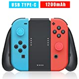 Nintendo Switch Joy Con Controller Charging Grip Charger, USB Type C Charge Cable and 2pcs Thumbstick Caps Included (Color: Black 02)