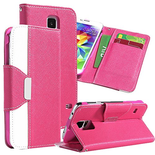 Mylife Deep Bubble Gum Pink And White - Classic Design - Koskin Faux Leather (Card, Cash And Id Holder + Magnetic Detachable Closing + Hand Strap) Slim Wallet For New Galaxy S5 (5G) Smartphone By Samsung (External Rugged Synthetic Leather With Magnetic Cl