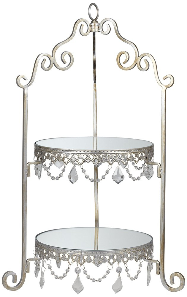 Antique Silver Mirror 2-Tier Cake Stand