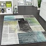 Designer Teppich Kariert Modern Trendig Meliert Eyecatcher in Grau Türkis Grün, Grösse:200x280 cm