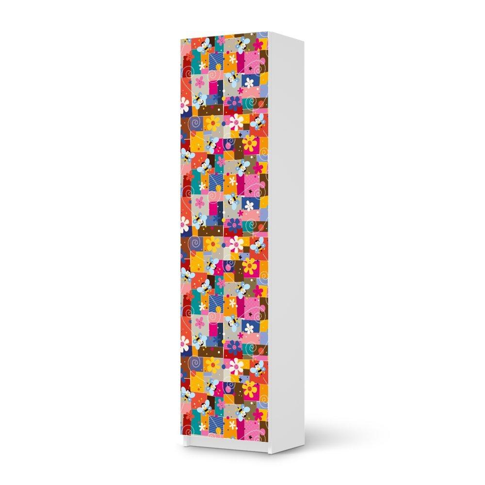 Möbel-Aufkleber IKEA Pax Schrank 201 cm Höhe – 1 Tür / Design Sticker Flowers and Bees 1 / selbstklebende Dekoration günstig kaufen