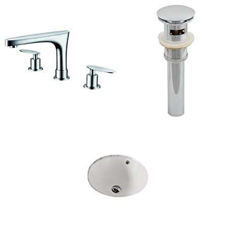 "Jade Bath JB-13207 15.5"" W x 15.5"" D CUPC Round Undermount Sink Set with 8"" o.c. CUPC Faucet and Drain, Biscuit"