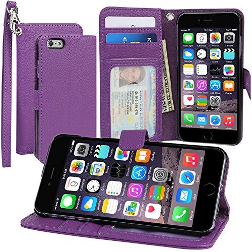 """Evecase iPhone 6 Portafoglio custodia in PU pelle con supporto per Apple iPhone 6 4.7"""" Smartphone, colore: Viola"""
