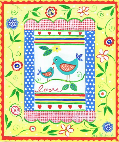 The Kids Room by Stupell Love Birds with Yellow Border with Flowers Rectangle Wall Plaque
