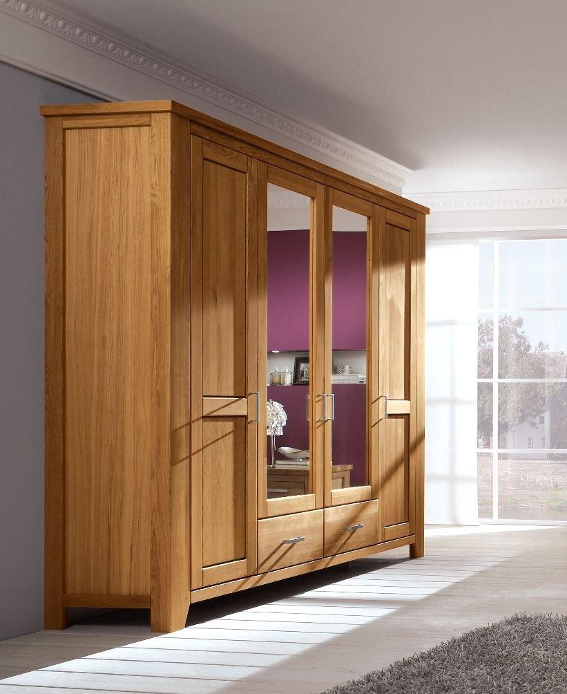 Firstloft 101-0300 Donna Kleiderschrank 4-türig, 249 x 218 x 59 cm, wildeiche natur, gewachst-geölt