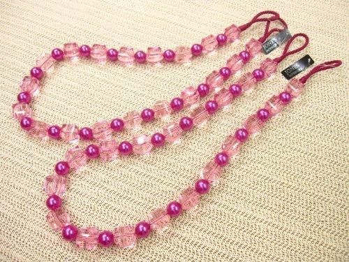 Temptation beaded curtain tieback - rope style tie back - sold per pair - 82cm long (Pink) by Jones Interiors