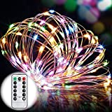 8 Modes String Lights, GDEALER 33ft 100LED Copper Wire Starry String Lights Battery Powered with Remote Control for Outdoor, Indoor, Wedding, Christmas Party multi color(Battery NOT INCLUDED) (1)