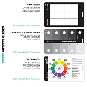 Pixiss Proportional Scale Divider Drawing Tool for Artists, Gray Scale Value Finder, Color Wheel and Artists View Catcher Finder