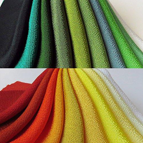 (中サイズ/二色セット, グリーンとオレンジ) レーヨン 無地 ちりめん お得な20枚セット 約22cm×20cm