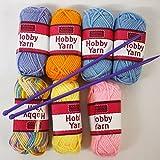 Childrens Craft My First Knitting Yarn Set Coloured Wool x 7 balls Needles