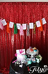 TRLYC 5FT*6FT Red SEQUIN PHOTO Backdrop, Photo Booth Backdrop, Photography Royal Red Sequin Backdrop, DIY Photobooth