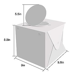 Portable Photo Studio,Trekoo Mini Folding Photography Lighting Box Shooting Tent Kit with Top Hole,Adjustable Brightness 2 LED Lights and 6pcs Background (Color: white)