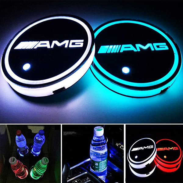 Aswelly LED Car Cup Holder Lights for Jeep Luminescent Cup Pad Interior Atmosphere Lamp Cool Car Accessories for Jeep 2PCS Car Logo Cup Coaster with 7 Colors Changing USB Charging Mat