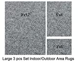 Indoor-Outdoor 3 Piece Set, Large Patio Rug's (9x12 Area Rug, 5x8 Rug, 3x5 Mat) (Gray)