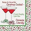 Unique 16 Count Recipe for The Perfect Christmas Cocktail Napkins, Multicolor