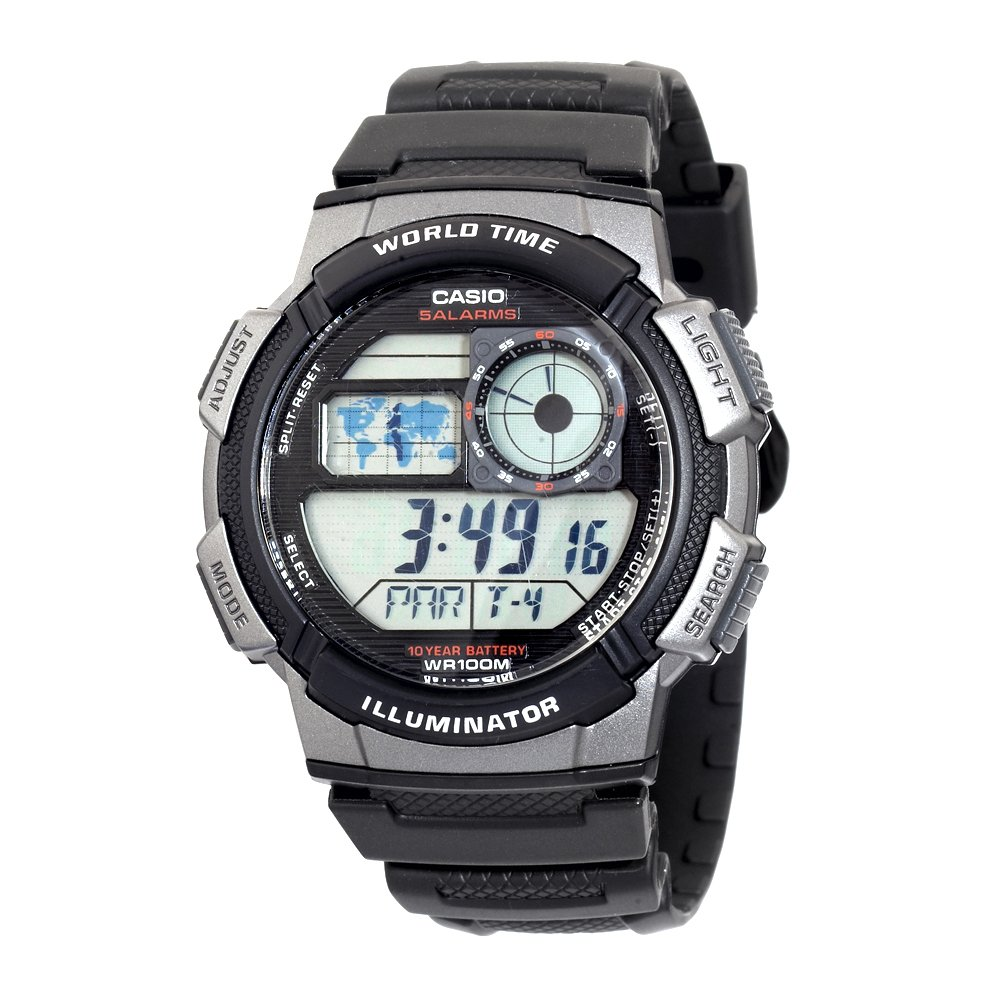 Casio Men&#8217;s Silver-Tone and Black Digital Sport Watch + Casio Water Bottle $17
