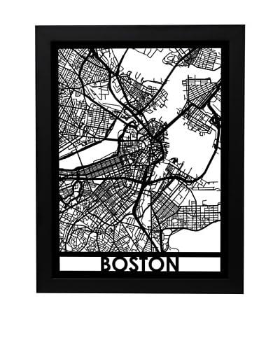 Cut Maps Boston Framed 3-D Street Map