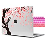 Dongke Beautiful Printing Cherry Blossoms Desgin Crystal Clear Plastic Hard Sleeve Case Cover for Apple MacBook Air 11 inch model:A1465/A1370 with Gradient Keyboard Cover (Transparent) (Color: Transparent Sakura, Tamaño: 11 Inches)