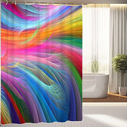 Colourful Fractal Rainbow Ocean Waterproof Polyester Fabric Shower Curtain 66
