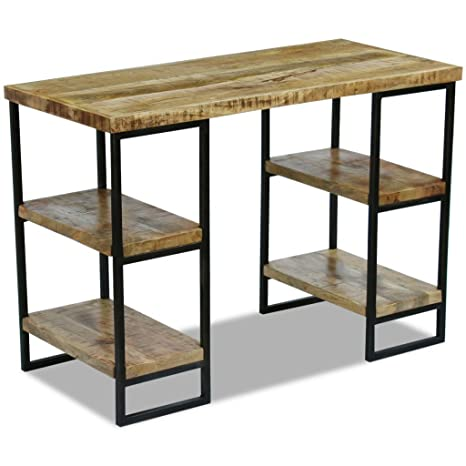 vidaXL Bureau en bois de manguier Table de travail Table d'ordinateur 110 x 55 x 76 cm