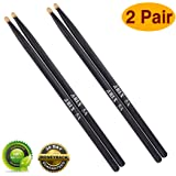 Drum sticks 5a Wood Tip drumsticks 2 Pair Black Drum stick (Color: 2 Pair Maple Black)