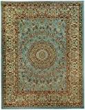 "Medallion Traditional Ocean Blue 5'3"" x 6'11"" Area Rug Maxy Home Pasha Collection PAS4516"