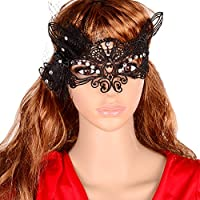 Yazilind Lolita Sexy Fox Black Lace Half Mask for Fancy Masquerade Ball Women by YAZILIND JEWELRY LTD