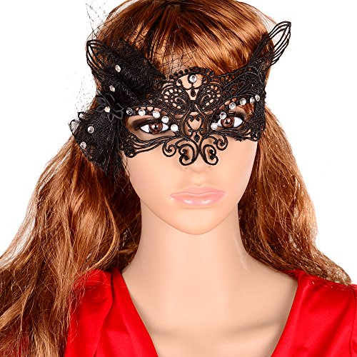 Yazilind Lolita Sexy Fox Black Lace Half Mask for Fancy Masquerade Ball Women