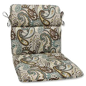 Pillow Perfect Outdoor Tamara Paisley Quartz Rounded Corners Chair Cushion by Pillow Perfect