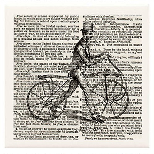 """Hand Made Coasters [Set Of 4] - Steampunk """"Vintage Man In Top Hat And Tails Walking Bicycle"""" Artwork Combines With Vintage Dictionary Pages, Ceramic Tiles And Specialty Materials To Create These Coasters From Our Modern Art Design Collection - A Stylish A front-311307"""