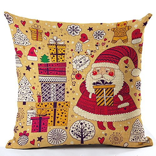 "Monkeysell Creative Decoration Christmas Pillow Cover Panda Elk Owl Santa Claus Lion Designed for Each Family or As the Gift 18 ""X 18"" (S136A10)"