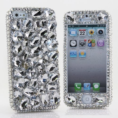 Special Sale BlingAngels® 3D Luxury Bling iphone 5 5s Case Cover Faceplate Swarovski Crystals Diamond Sparkle bedazzled jeweled Design Front & Back Snap-on Hard Case (100% Handcrafted by BlingAngels) (Clear Stones Design)