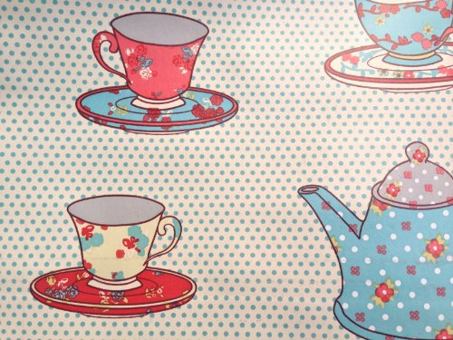 Teapots and Cups spots Vintage Kitchen Retro PVC Oilcloth Vinyl Kitchen Cafe Bar Table Wipeclean Tablecloth - PER METRE (Turquoise Spots)