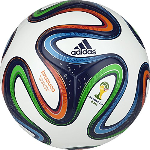 adidas Performance Brazuca Top Replique Soccer Ball, White/Night Blue/Multicolor, 4