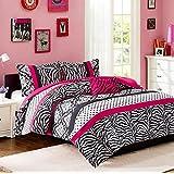 Comforter Bed Set Teen Kids Girls Pink Black White Animal Print Full or Twin Xl Polka Dots Bedding Set (full/queen)