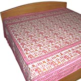 Block Printed Cotton Bed Sheet in Pink Color Queen Sizeby DakshCraft