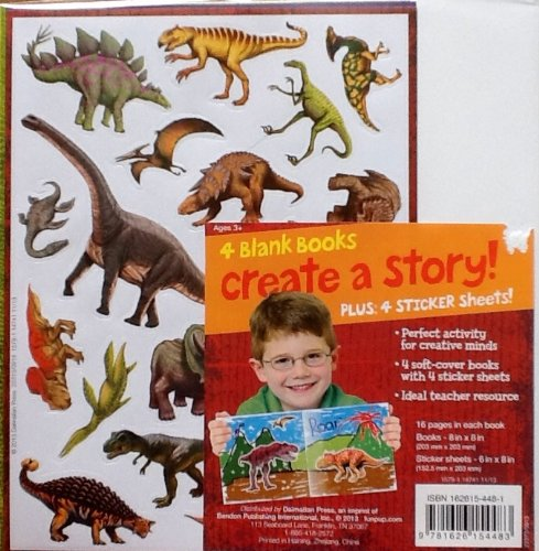 Create & Illustrate a Story ~ 4 Sheets of Dinosaur Stickers, 4 Blank Soft-cover Blank Books - 1