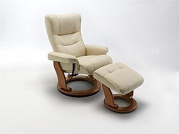 Fernsehsessel, Relaxsessel, TV-Sessel creme, Leder + Holz, mit Hocker, 130 kg