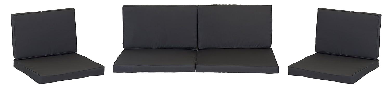 beo Loungekissen Ersatz für Monaco Set Gruppen Austauschkissen wasserabweisend Set mit 8 Kissen, 5 cm dick, anthrazit / schwarz online kaufen