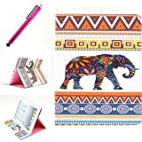 iPad 2/3/4 Case, JCmax Protective Cover New Colorful Premium Flip Folio Style Foldable Side [Card Slots] [Durable Cover] [Kickstand Function] PU Leather Wallet Case Cover Smart Skin For Apple iPad 2/ iPad 3 / iPad 4, Come with one free Stylus -[Elephant Pattern]