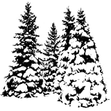Magenta Cling Stamps, 2.5-Inch by 2.5-Inch, Snowy Evergreens