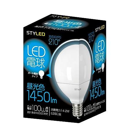 STYLED LED電球(昼光色相当・ボール電球100W相当) E26口金 ボール電球タイプ 14.2W 1450lm LDG100D1