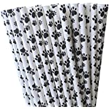 Paw print Paper Drinking Straws Dog Theme Party Supply -100%Biodegradable- Bulk 7.75 Inches- Pack of 75