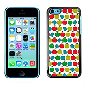 Omega Covers - Snap on Hard Back Case Cover Shell FOR Apple iPhone 5C - Pattern Teal Green Red White Clean