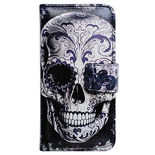 Bfun Packing Bcov Cool Floral Skull Card Slot Wallet Leather Cover Case For Samsung Galaxy S5 (Galaxy S5 Cool Wallet Case compare prices)