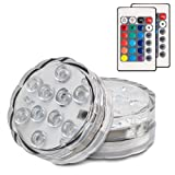 Hitopin Submersible LED Lights Remote Controlled Battery Operated Wireless Multicolor Waterproof Underwater Submersible Led Lights for Holloweed ,Pond, Party,Wedding, Vase Base, Lighting,Set of 2