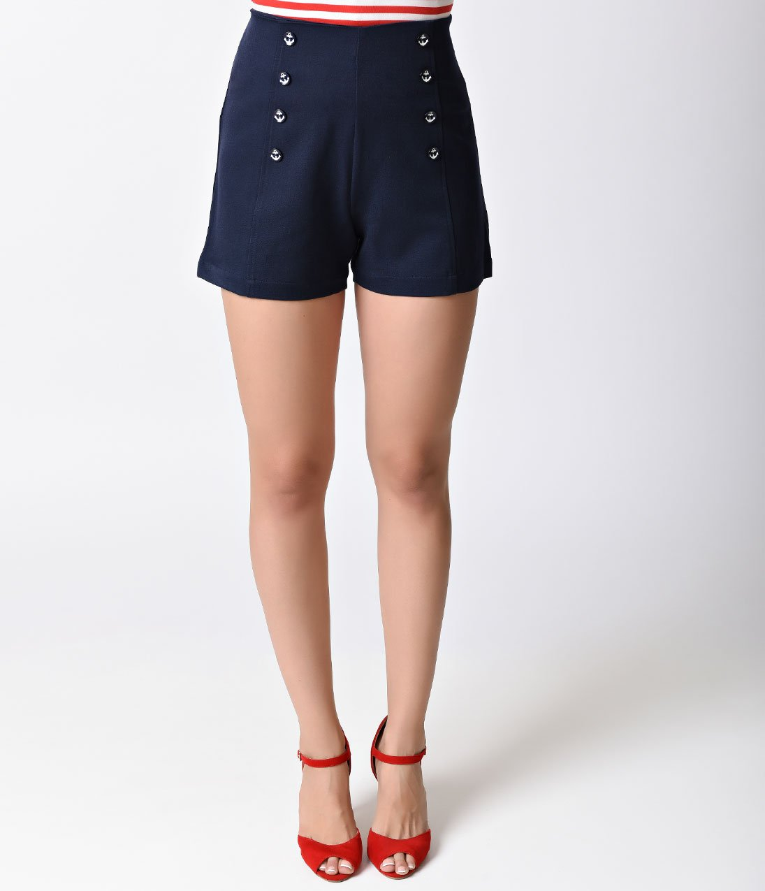 Banned Nautical Navy High Waist Stay Awhile Stretch Sailor Shorts 1