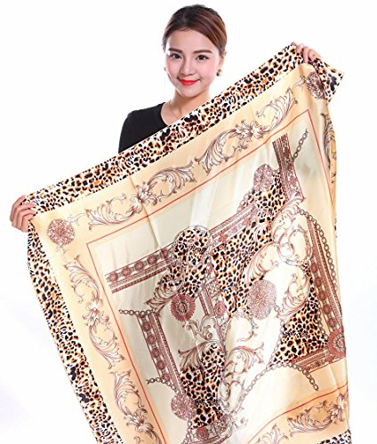 Bear-Motion-Collection-Womens-100-Large-Silk-Scarf-with-Leopard-Print-43-X-43-Large-43-X-43-Khaki