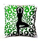 Homeblendz Cotton Printed Yoga Standing Design White, Green And Black 40x40 Cushion Cover