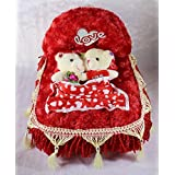 Beautiful Red Decorated Royal Plush Bed With Love Couple Teddy Bears